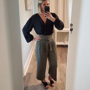 Silky high waisted cropped pants